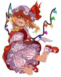 1girl arms_behind_back ascot blonde_hair bloomers fangs flandre_scarlet full_body long_hair looking_at_viewer manarou open_mouth petticoat puffy_short_sleeves puffy_sleeves red_eyes red_shoes red_skirt shoes short_sleeves simple_background skirt skirt_set smile socks solo touhou underwear vest white_background white_legwear wings