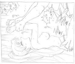 1boy 1girl bed blush breasts eyes_closed fire_emblem fire_emblem:_rekka_no_ken hector kyouno_aki leg_lock lyndis_(fire_emblem) monochrome nintendo nude open_mouth ponytail sex sketch sweat tagme text