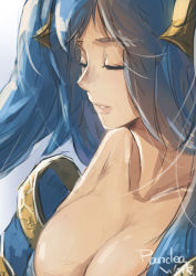 1girl bare_shoulders blue_hair breasts eyes_closed large_breasts league_of_legends long_hair sky_of_morika solo sona_buvelle twintails