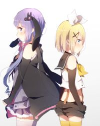 back-to-back black_gloves blonde_hair blue_eyes bow crop_top elbow_gloves fingerless_gloves frilled_skirt frills gloves hair_bow hair_ornament hand_on_own_chest harusawa jacket kagamine_rin low_twintails pleated_skirt purple_hair purple_skirt sailor_collar short_hair shorts simple_background skirt suspenders twintails vocaloid white_background yuzuki_yukari