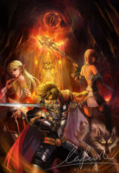1boy 2girls armor blonde_hair blue_eyes brown_hair elf fire geminibluedream lineage lineage_2 long_hair multiple_girls night_phoenix pointy_ears staff sword weapon wolf