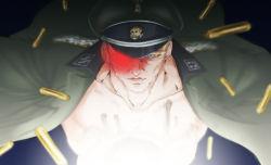 1boy blonde_hair cyborg hat jacket jojo_no_kimyou_na_bouken maddy military military_hat military_uniform open_clothes open_jacket rudolph_von_stroheim solo uniform