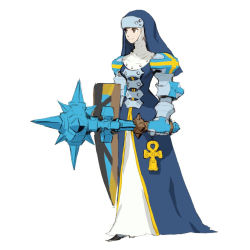 code_of_princess mace nun official_art shield sister_hell weapon yellow_eyes