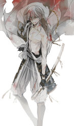 1boy armor black_gloves blood blood_on_face bloody_clothes gloves injury japanese_armor japanese_clothes katana male_focus nair shirtless sword torn_clothes touken_ranbu tsurumaru_kuninaga weapon white_hair yellow_eyes