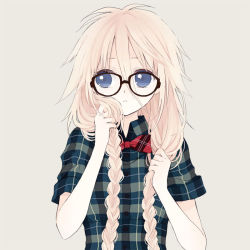 1girl anzu_(o6v6o) bespectacled black-framed_eyewear blue_eyes bow bowtie braid breasts buttons casual collared_shirt eyelashes glasses hair_between_eyes holding holding_hair ia_(vocaloid) long_hair looking_away looking_to_the_side low_twintails medium_breasts pale_skin parted_lips plaid plaid_bowtie plaid_shirt red_bow red_bowtie shirt short_sleeves silver_hair simple_background solo twin_braids twintails upper_body vocaloid