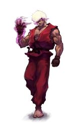 1boy absurdres afro aura barefoot clenched_hand dark_persona dark_skin dougi evil_grin evil_smile fingerless_gloves gjergji_zhuka gloves glowing glowing_eyes grin hair_over_one_eye highres male_focus muscle no_pupils purple_eyes smile solo street_fighter svc_chaos transparent_background violent_ken white_hair
