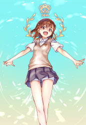 1girl brown_eyes brown_hair crown from_below grey_skirt legs_crossed loafers logo looking_at_viewer misaka_mikoto open_mouth outstretched_arms raika9 school_uniform shoes shorts shorts_under_skirt skirt solo sweater_vest to_aru_kagaku_no_railgun to_aru_majutsu_no_index wreath