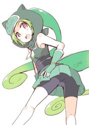 >:o 1girl :o armpits bare_shoulders black_shorts chameleon_tail fingerless_gloves forehead_protector gloves green_gloves green_hair hand_on_ass hood kemono_friends looking_back muted_color nanateru ninja panther_chameleon_(kemono_friends) pleated_skirt red_eyes shorts simple_background skirt sleeveless solo standing white_background