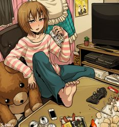 1boy 1girl apron artist_name bag barefoot cactus can child drinking feet food game_console game_controller jeans kagamine_len kagamine_rin long_hair nintendo phone playstation playstation_3 poster potted_plant shirt sitting striped_shirt stuffed_toy suparu_(detteiu) table teddy_bear television two-tone_stripes vocaloid wii xbox