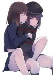 2boys bdsm brown_hair hat licking locon multiple_boys school_uniform shibari short_hair sitting spread_legs trap