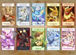 blue_eyes brown_eyes character_name crown dated eevee espeon eyes_closed flareon glaceon halo highres ivan_(ffxazq) jolteon leafeon no_humans one_eye_closed pokemon purple_eyes red_eyes scythe smile sylveon umbreon vaporeon wings yellow_eyes