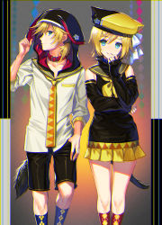 1boy 1girl adapted_costume animal_ears animal_hat animal_hood argyle argyle_legwear belt black_shorts blonde_hair blue_eyes blue_legwear bow brother_and_sister cat_ears cat_hat collar collarbone detached_sleeves diamond_(shape) dog_collar dog_hood dog_tail fake_animal_ears floral_print fuji_minako gradient gradient_background hair_bow hair_ornament hairclip hand_in_pocket hat head_tilt holding_ears hood kagamine_len kagamine_rin kneehighs looking_at_viewer low_ponytail necktie pillarboxed pleated_skirt profile red_legwear ribbon sailor_collar short_hair shorts siblings skirt sleeves_past_elbows sleeves_past_wrists standing tail triangle turtleneck twins vocaloid white_bow yellow_ribbon yellow_skirt