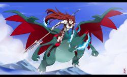armor charizard fire_emblem fire_emblem:_kakusei fly lance long_hair mega_charizard_x mega_pokemon nintendo pokemon red_eyes red_hair sky super_smash_bros. tagme tiamo weapon