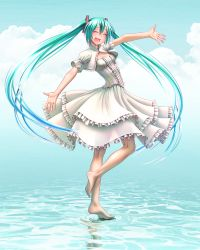 1girl :d ^_^ aqua_eyes aqua_hair barefoot blush cloud dress eyes_closed feet full_body hair_ornament happy hatsune_miku kneepits legs long_hair nail_polish open_mouth outstretched_arms outstretched_hand revision see-through_silhouette shiny shiny_skin smile soles solo spread_arms standing standing_on_liquid standing_on_one_leg toenail_polish toes twintails very_long_hair vocaloid water white_dress wokada