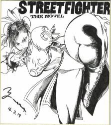 1girl black_hair boots breasts chun-li dated female huge_breasts kicking legs legs_up looking_at_viewer monochrome murata_yuusuke street_fighter traditional_media