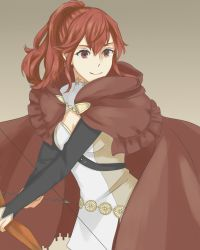 1girl anna_(fire_emblem) arrow bow_(weapon) cloak fire_emblem fire_emblem:_kakusei fire_emblem_if hakirino highres holding holding_weapon looking_at_viewer ponytail red_eyes red_hair simple_background smile solo solo_focus weapon
