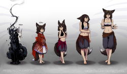 1girl age_progression animal_ears baggy_shorts barefoot black_hair breasts child clothes_around_waist collage earrings flat_chest fox fox_ears fox_tail full_body goggles goggles_on_head hands_in_sleeves highres japanese_clothes jewelry kate-fox katrin_fox kimono loli midriff navel no_bra obi original sarashi sash short_hair shorts small_breasts smoke solo sweater_around_waist tail teenage thigh_gap vest watermark web_address yellow_eyes younger