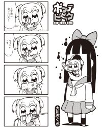 2girls 4koma :3 bkub bow comic hair_bow highres long_hair monochrome multiple_girls payot pipimi poptepipic popuko school_uniform serafuku simple_background translated two-tone_background two_side_up