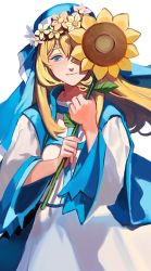 1girl arietta_(chain_chronicle) blonde_hair blue_eyes chain_chronicle flower head_wreath long_hair looking_at_viewer momo_alto nun one_eye_covered simple_background smile solo sunflower white_background