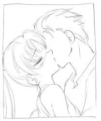 1boy 1girl blush fire_emblem fire_emblem:_rekka_no_ken hector kiss kyouno_aki lyndis_(fire_emblem) monochrome nintendo ponytail sketch tagme