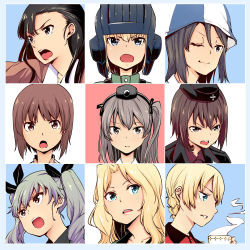 anchovy arm_up asymmetrical_bangs bangs black_hair blonde_hair blue_eyes brown_eyes brown_hair chi-hatan_military_uniform cup darjeeling emblem fang garrison_cap gensokigou girls_und_panzer green_hair grey_eyes hair_between_eyes hair_ribbon hair_up hairband hat head_only helmet jacket katyusha kay_(girls_und_panzer) long_hair looking_at_viewer mika_(girls_und_panzer) military military_hat military_uniform mini_hat nishi_kinuyo nishizumi_maho nishizumi_miho one_eye_closed open_mouth parted_bangs ribbon selection_university_military_uniform shimada_arisu short_hair side_ponytail smile steam teacup throat_microphone twintails uniform