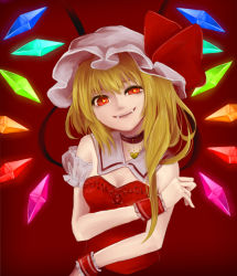 1girl adapted_costume blonde_hair breasts choker cleavage crystal detached_collar dress fangs flandre_scarlet hat hat_ribbon heart heart-shaped_pupils mob_cap nakaya_(pixiv2496296) red_background red_dress red_eyes ribbon side_ponytail simple_background smile solo strapless_dress symbol-shaped_pupils touhou uneven_eyes upper_body wings wrist_cuffs