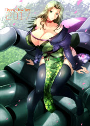 1girl 2017 bare_shoulders breasts choker cleavage cowboy_shot detached_sleeves erect_nipples expressionless flower green_eyes green_hair haganef hips huge_breasts lamia_loveless legs long_hair long_sleeves looking_at_viewer matching_hair/eyes mecha new_year parted_lips sakura sitting sitting_on_hand socks solo super_robot_wars super_robot_wars_original_generation thighhighs thighs tree