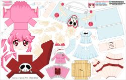 1girl absurdres artist_name ass breasts butt_crack character_name chibi el_joey hat highres jakuzure_nonon kill_la_kill paper_cut-out papercraft pink_eyes pink_hair skull solo watermark web_address