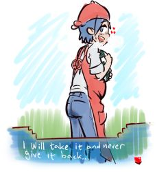 1boy apron blue_eyes blue_hair drooling english headwear heart looking_back male_focus npc_trainer open_mouth pokemon pokemon_(game) pokemon_breeder_(pokemon) pokemon_oras sketch solo standing tagme tenk