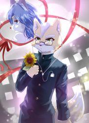 1boy 1girl blue_eyes blue_hair flower fox_mccloud furry gem glasses green_eyes hair_ornament headphones jewelry krystal long_hair nintendo ribbons star_fox suit