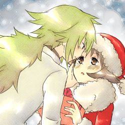 2boys brown_hair green_hair long_hair male_focus multiple_boys n_(pokemon) pokemon short_hair snow tagme touya_(pokemon) yaoi