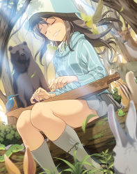 1girl bear bird blurry brown_hair bunny chipmunk deer depth_of_field dragonfly eyes_closed forest frog girls_und_panzer hat insect instrument jacket kantele light_rays log long_hair mika_(girls_und_panzer) nature pairan shoes sitting skirt smile snake socks solo squirrel sunbeam sunlight track_jacket tree