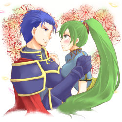 1boy 1girl arm_grab armor blue_eyes blue_hair blush breast_press cape chinese_clothes couple earrings eye_contact face-to-face fire_emblem fire_emblem:_rekka_no_ken floral_background green_eyes green_hair grin heart hector hector_(fire_emblem) hug jewelry long_hair looking_at_another lyndis_(fire_emblem) naughty_face nintendo parted_lips ponytail short_hair short_sleeves shy smile sweatdrop upper_body zumu