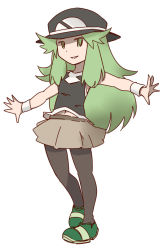 1girl blue_(pokemon) commentary_request fusion green_eyes green_hair hanomido hat long_hair midriff n_(pokemon) navel outstretched_arms parted_lips pokemon pokemon_(game) pokemon_bw pokemon_frlg simple_background skirt smile solo standing white_background wristband