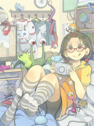 >:q 1girl :q ahoge alien antennae bed bent_knees between_toes bookshelf bow box brown_hair cable compass feet foreshortening game_console glasses globe grey_legwear hair_bobbles hair_bow hair_ornament hairclip handheld_game_console helmet interior kneehighs lying monitor muted_color no_shoes on_back on_bed original pillow playing_games playstation_portable poripori_(popocox) red-framed_glasses room school_uniform sega_mega_drive short_sleeves short_twintails skirt smile solo space_helmet spacesuit striped striped_legwear toes tongue tongue_out twintails