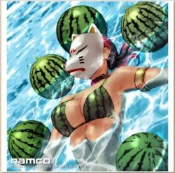 1girl armlet bikini breasts choker floating food fox_mask fruit jpeg_artifacts kawano_takuji kunimitsu_(tekken) large_breasts long_hair mask namco official_art pink_hair ponytail print_bikini resized resizing_artifacts solo swimsuit tekken tekken_tag_tournament water watermelon watermelon_print