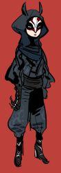 animal_ears animal_hood boots full_body gloves hoodie mask sash scarf solo standing tetu