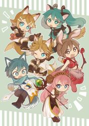 >:d >:o /\/\/\ 2boys 4girls :3 :d :o adapted_costume animal_ears aqua_eyes aqua_hair aqua_necktie arm_guards arrow bangs bare_arms black_boots black_legwear black_shorts blonde_hair blue_eyes blue_hair blue_scarf boots bow_(weapon) broom broom_riding brown_boots brown_hair capelet clenched_hands cloak closed_mouth cross-laced_footwear dog_ears fang fishnets fox_ears fox_tail fringe furry geta grey_pants grin hair_ornament hairclip hatsune_miku holding holding_staff holding_sword holding_weapon hood hood_down hooded_cloak horns kagamine_len kagamine_rin kaito knee_boots kneehighs kuji-in lace-up_boots leaning_forward leg_up long_hair long_sleeves looking_at_another looking_at_viewer megurine_luka meiko miniskirt multiple_boys multiple_girls nail_polish navel necktie ninja one_eye_closed one_knee open_mouth outstretched_leg own_hands_together pants pleated_skirt polka_dot quiver red_nails ribbon_trim sawarabi scarf sheep_ears sheep_horns short_hair shorts simple_background skirt smile staff standing stomach striped sword tail twintails vertical_stripes vocaloid weapon