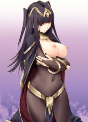 1girl areolae black_hair blush breasts breasts_outside bridal_gauntlets covered_navel fire_emblem fire_emblem:_kakusei kirishima_satoshi large_breasts light_smile long_hair looking_at_viewer navel nipples purple_eyes revision solo standing tharja