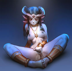 1girl anklet anus arm_support between_breasts black_hair blue_skin bracelet bracer breasts breasts_apart brown_eyes crying crying_with_eyes_open dark_nipples extra_ears feet_together fingering full_body highres horns jewelry long_hair masturbation monster_girl necklace nipples nude original pointy_ears pussy pussy_juice small_breasts solo spread_legs tarakanovich tears third_eye toes vaginal