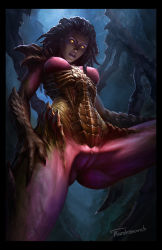 1girl armor ass black_border border breasts claws glowing glowing_eyes hand_on_own_thigh long_hair looking_at_viewer looking_down monster_girl parted_lips purple_skin pussy sarah_kerrigan signature solo spread_legs starcraft starcraft_2:_wings_of_liberty tarakanovich uncensored wings
