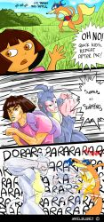1girl 3koma araki_hirohiko_(style) backpack bag boots_the_monkey brown_eyes brown_hair comic dark_skin dora_marquez dora_the_explorer english eyebrows green_lipstick highres jojo_no_kimyou_na_bouken lipstick makeup map_(dora_the_explorer) parody punching rogby stand_(jojo) style_parody swiper_the_fox thick_eyebrows typo
