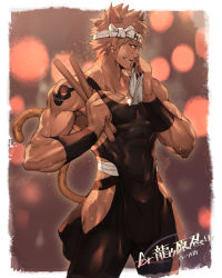1boy biceps blonde_hair drumsticks earrings fang fundoshi hachimaki headband japanese_clothes jewelry looking_at_viewer male_focus necklace nikism rom_(show_by_rock!!) show_by_rock!! smile solo sweat tattoo thighs towel