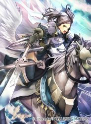 1girl armor blue_hair copyright_name cynthia_(fire_emblem) fire_emblem fire_emblem:_kakusei fire_emblem_cipher garter_straps gloves holding holding_weapon open_mouth pegasus_knight polearm short_hair short_twintails spear thighhighs twintails weapon