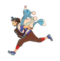 1boy amamimaru backpack bag baseball_cap black_hair brionne capri_pants eyes_closed hat lying male_protagonist_(pokemon_sm) on_back open_mouth pants pokemon pokemon_(creature) pokemon_(game) pokemon_sm running shirt short_hair smile striped striped_shirt t-shirt