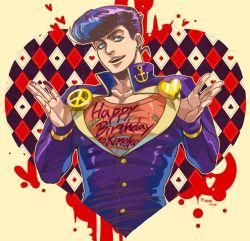 1boy blue_eyes blue_hair gakuran higashikata_jousuke jojo_no_kimyou_na_bouken paint pompadour purple_hair school_uniform solo yamu1620