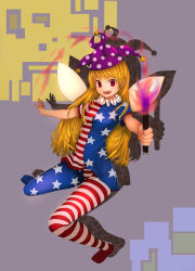 1girl absurdres american_flag american_flag_dress american_flag_legwear artist_request blonde_hair clownpiece dress fairy fairy_wings frilled_shirt_collar frills hat highres jester_cap leggings long_hair neck_ruff pantyhose pink_eyes polka_dot print_legwear short_dress short_sleeves solo star torch touhou very_long_hair wings
