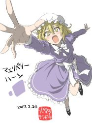 1girl bangs black_shoes blonde_hair breasts dated dress falling foreshortening frilled_dress frills full_body hair_between_eyes hat inuno_rakugaki long_hair looking_at_viewer maribel_hearn mob_cap outstretched_arms purple_dress reaching shoes signature simple_background small_breasts solo teardrop tears touhou translation_request white_background white_legwear yellow_eyes