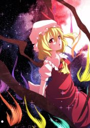 1girl :o aono_meri ascot bangs blonde_hair flandre_scarlet hair_between_eyes hat hat_ribbon highres looking_at_viewer mob_cap open_mouth puffy_sleeves red_eyes ribbon shirt short_hair short_sleeves side_ponytail skirt skirt_set sky solo sparkle star_(sky) starry_sky touhou vest wings