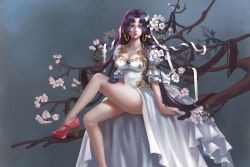 10s 1girl 2016 absurdres arm_support arms_at_sides artist_name bangs blue_eyes boa_hancock branch breasts brooch cherry_blossoms cleavage collarbone dated dress frilled_sleeves frills gem high_heels highres jewelry knee_up large_breasts leg_up legs legs_crossed lipstick long_hair makeup one_piece parted_bangs parted_lips pink_lips pink_lipstick puffy_short_sleeves puffy_sleeves purple_hair red_shoes shichibukai shoes short_sleeves showgirl_skirt signature sitting solo tree_branch very_long_hair white_dress